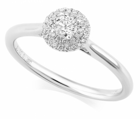 Double Halo Oval Diamond Ring in Platinum with 0.25ct of Diamonds