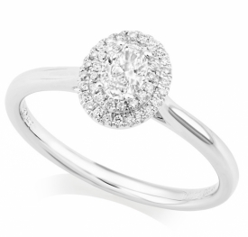 Double Halo Oval Diamond Ring in Platinum with 0.24ct of Diamonds
