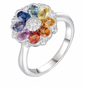Multi-Sapphire and Diamond Flower Ring with milgrain setting