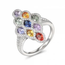 Multi-Sapphire and Diamond Lattice Ring