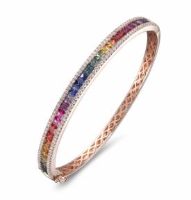 Multi-Coloured Sapphire and Diamond Rainbow Bangle