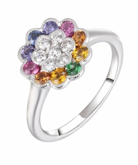 Fancy Sapphire and Diamond Flower