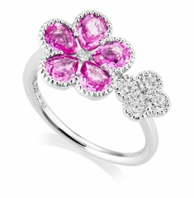 Pink Sapphire and Diamond Double Flower Ring