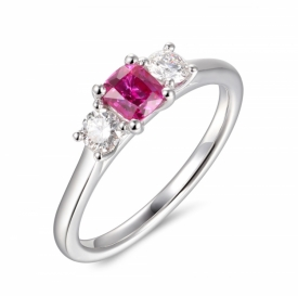 Pink Cushion Cut Sapphire and Diamond Brilliant Trio Ring