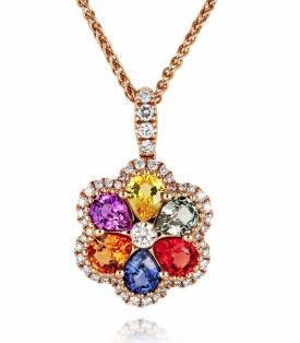 Multi-Colour Sapphire and Diamond Flower Pendant