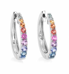Multi-coloured Sapphire Graduated Hoop Earrings