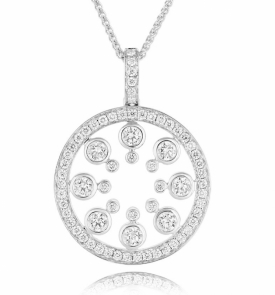 Diamond Round Constellation Pendant in 18ct White Gold with 1ct of Diamonds by Sheldon Bloomfield available at Jeremy Bloomfield