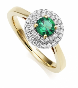 Emerald and Double Diamond Ring