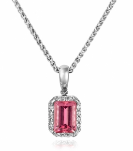 Rosy Pink Sapphire and Diamond Pendant