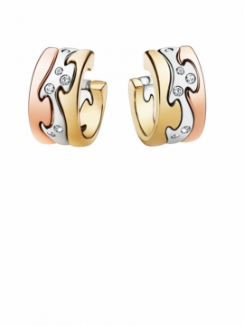 FUSION Yellow White and Rose Gold Earrings with Diamond Centre - 0
