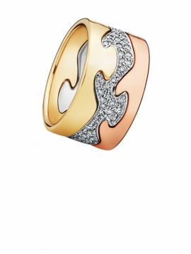 FUSION 3-piece ring 18 ct yellow gold, rose gold and white gold with brillant cut diamonds