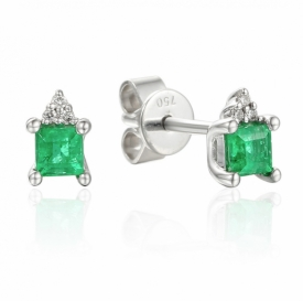Emerald and Diamond Square Earrings 0.24ct