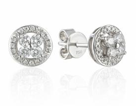 Diamond Flower Halo Earrings 0.34ct