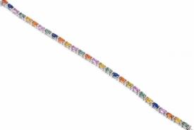 Multi-Coloured Oval Sapphire and Diamond Bracelet