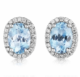 Classic Oval Aquamarine Earrings 1.13ct with GVS Diamonds