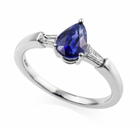 Pear Shaped Sapphire with Baguette Diamonds