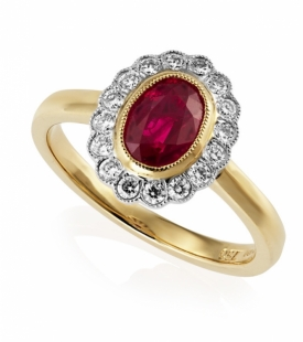 Vintage Style Diamond and Oval Ruby Ring 1.33ct