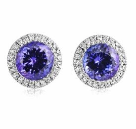 Round Tanzanite 1.51ct and Diamond Earrings