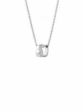 FUSION White Gold Pendant with Pavé Set Diamond Centre