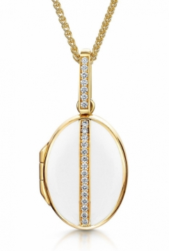 Oval Diamond & White Enamelled Locket