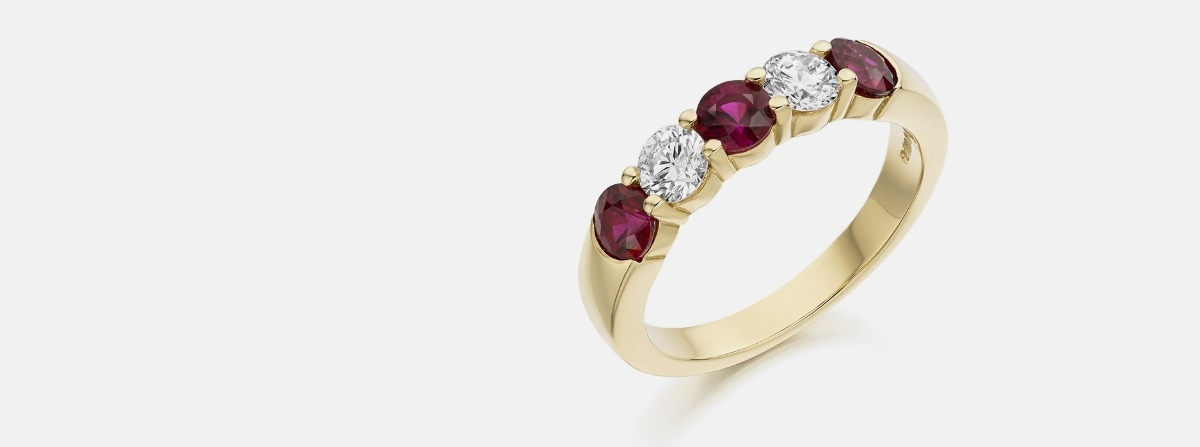 Precious Stone Eternity Rings from Jeremy Bloomfield - Emerald, Sapphire, Ruby